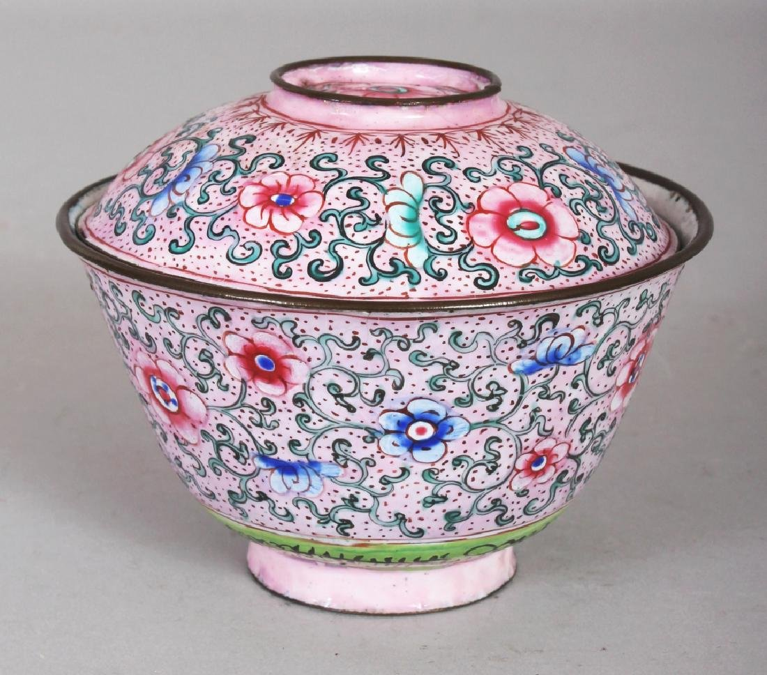 A 19TH CENTURY CHINESE PINK GROUND CANTON ENAMEL - 2