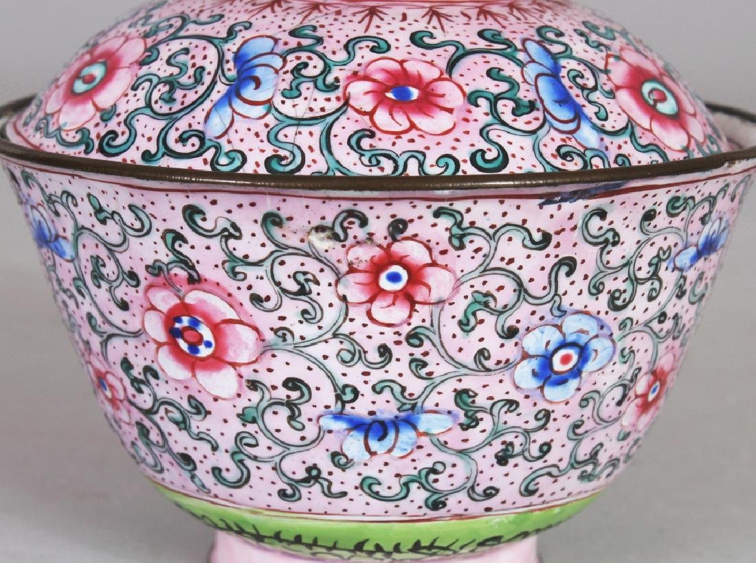 A 19TH CENTURY CHINESE PINK GROUND CANTON ENAMEL - 3