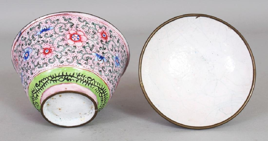 A 19TH CENTURY CHINESE PINK GROUND CANTON ENAMEL - 5