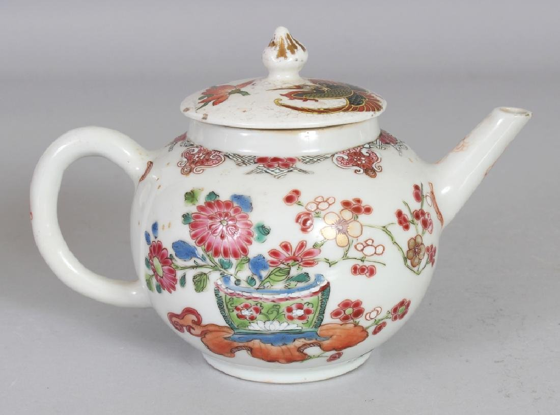 AN 18TH CENTURY CHINESE FAMILLE ROSE PORCELAIN TEAPOT, - 3
