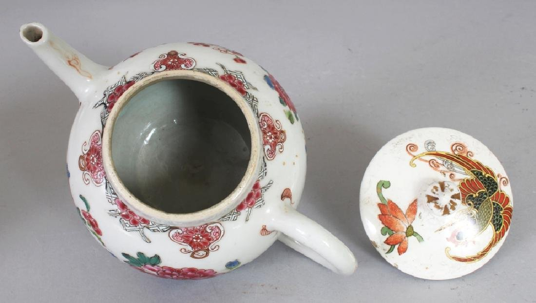 AN 18TH CENTURY CHINESE FAMILLE ROSE PORCELAIN TEAPOT, - 6