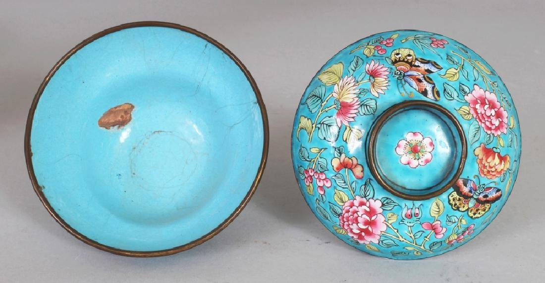 A 19TH CENTURY CHINESE TURQUOISE GROUND FAMILLE ROSE - 4