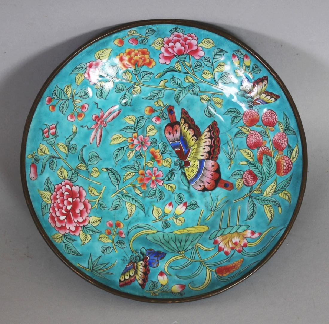 A 19TH CENTURY CHINESE TURQUOISE GROUND FAMILLE ROSE - 6