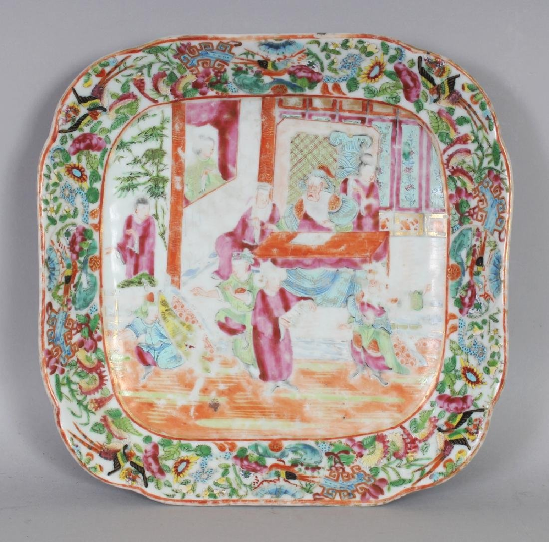 A 19TH CENTURY CHINESE CANTON PORCELAIN DISH, of shaped
