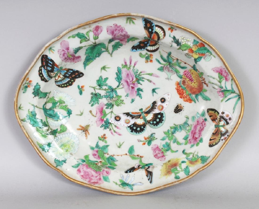 A MID 19TH CENTURY CHINESE CANTON SHAPED OVAL DISH,