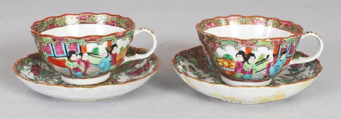 TWO PAIRS OF 19TH CENTURY CHINESE CANTON PORCELAIN CUPS