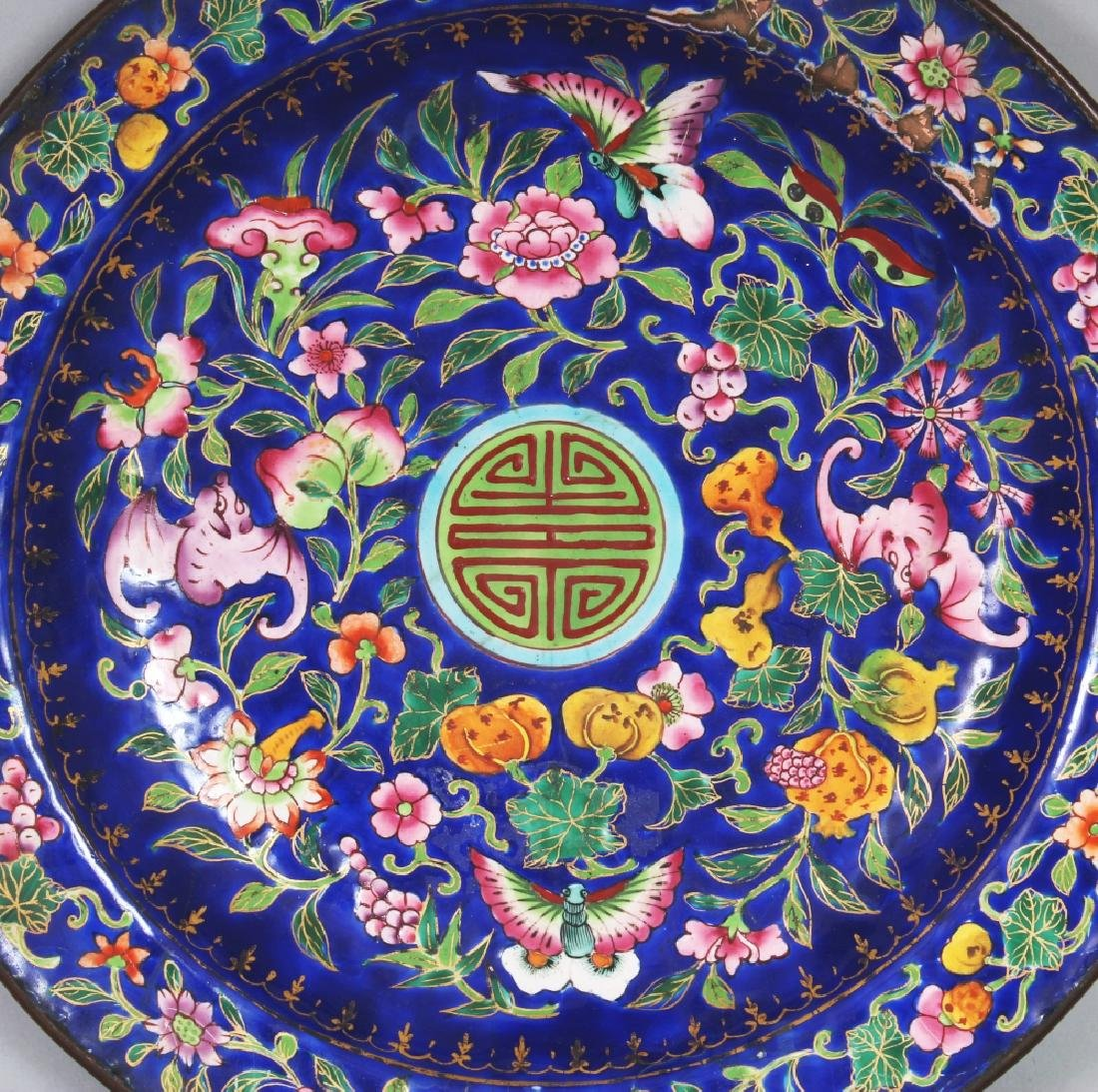 A 19TH CENTURY CHINESE BLUE GROUND CANTON ENAMEL DISH, - 2
