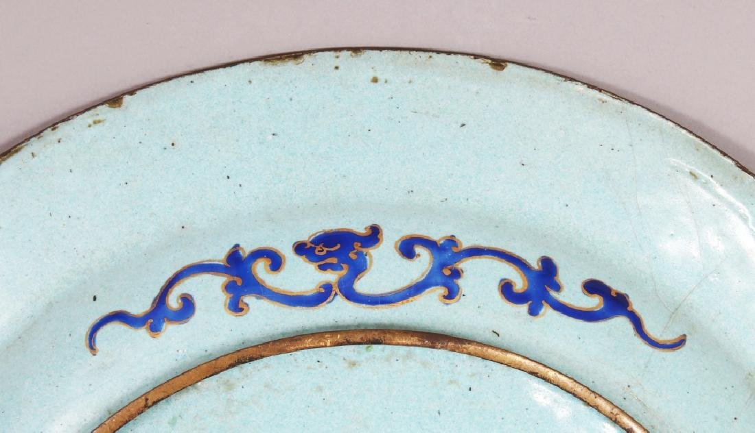A 19TH CENTURY CHINESE BLUE GROUND CANTON ENAMEL DISH, - 5