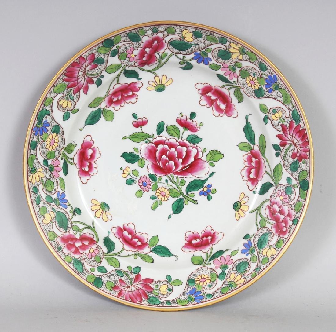 A SAMSON QIANLONG STYLE FAMILLE ROSE PORCELAIN PLATE,