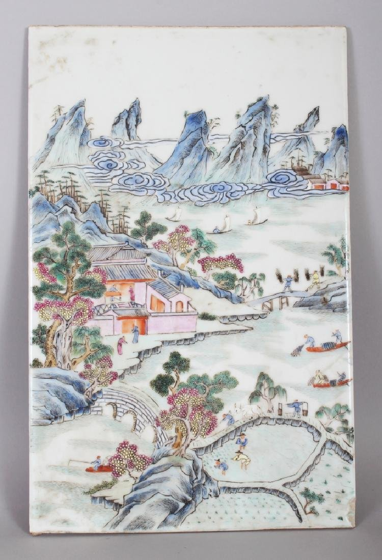 A CHINESE FAMILLE ROSE RECTANGULAR PORCELAIN RIVER