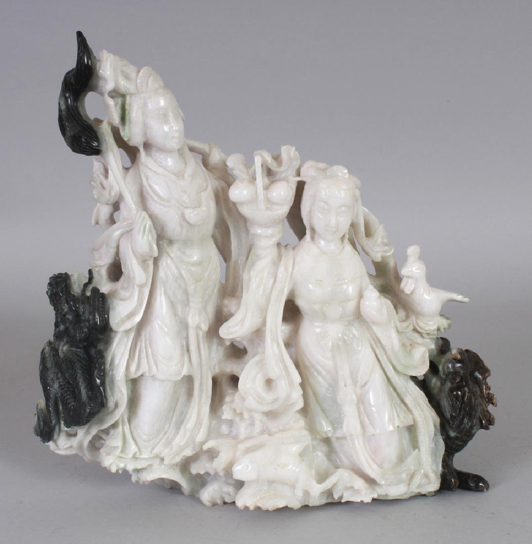 A 20TH CENTURY CHINESE JADE LIKE HARDSTONE CARVING OF