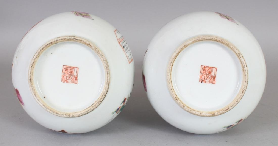 A PAIR OF CHINESE FAMILLE ROSE PORCELAIN BOTTLE VASES, - 8