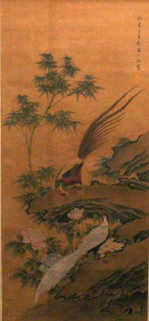 A CHINESE HANGING SCROLL PICTURE, depicting a pair of