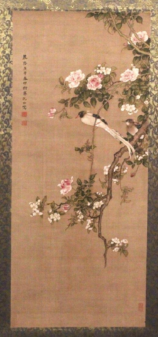 ANOTHER CHINESE HANGING SCROLL PICTURE, depicting two