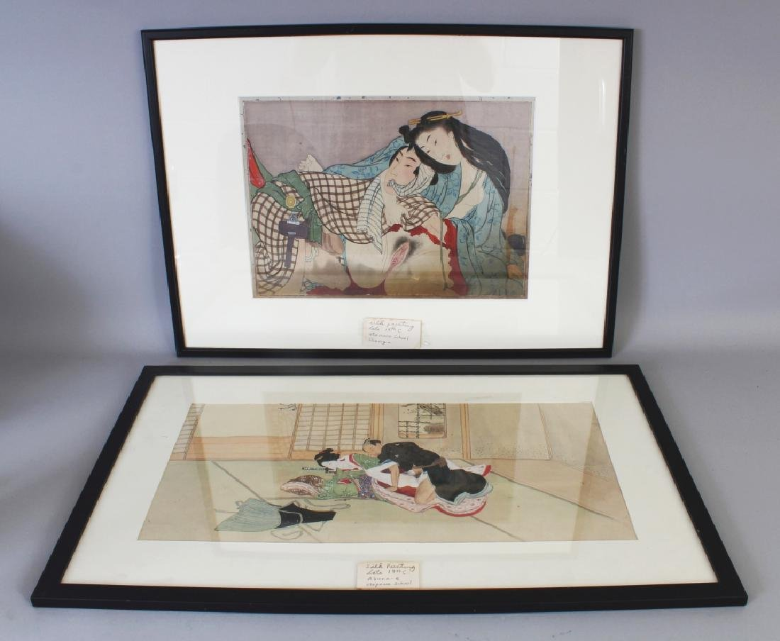 TWO 19TH CENTURY FRAMED JAPANESE SHUNGA PAINTINGS ON
