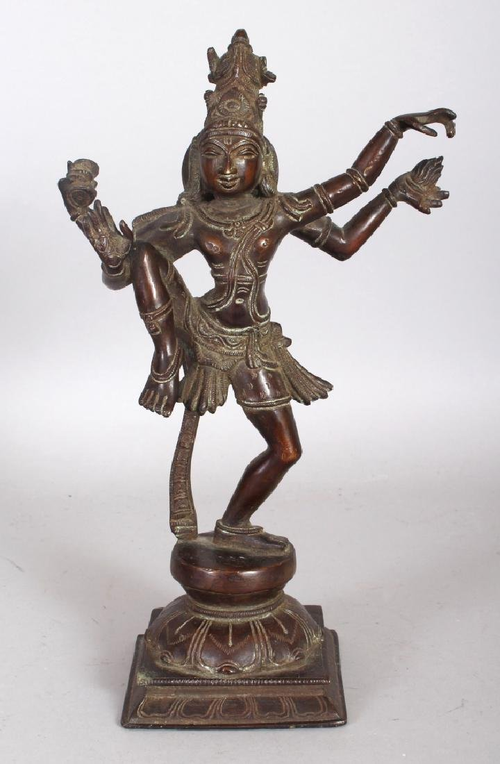 A 19TH CENTURY INDIAN BRONZE FIGURE OF SHIVA, in a
