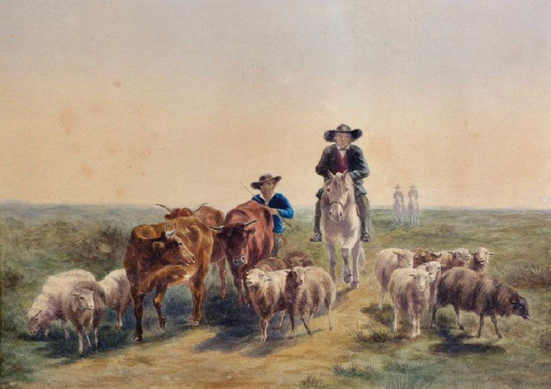 19th Century Dutch School. A Landscape, with Drovers