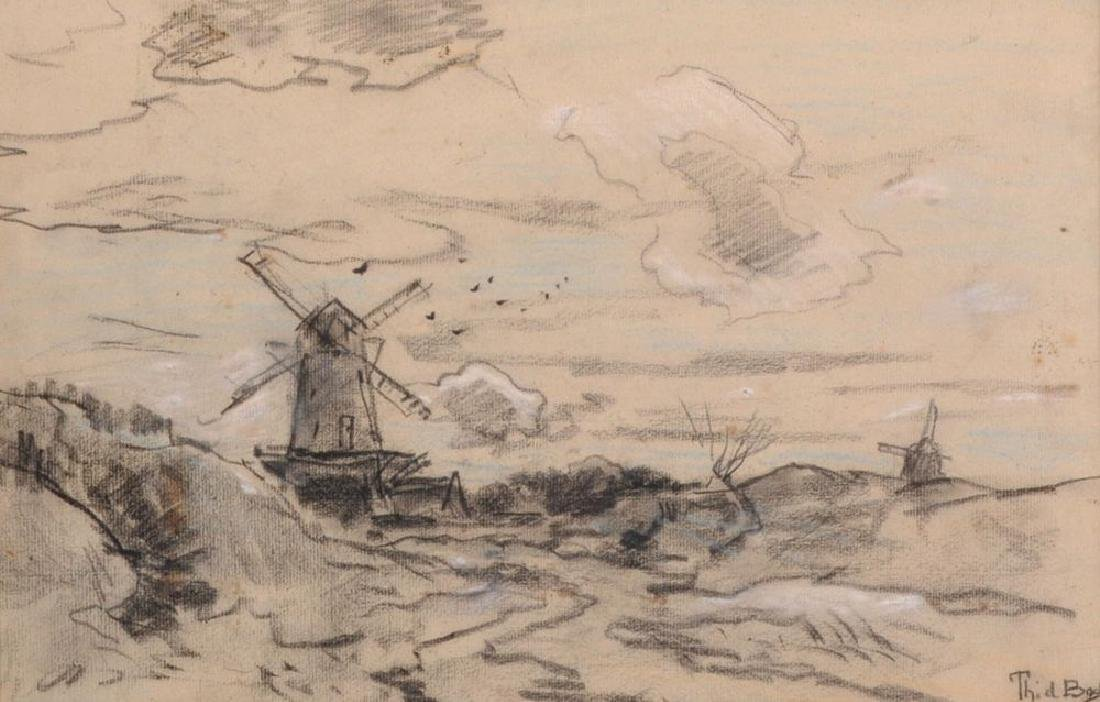 Theophile de Boch (1851-1904) Dutch. 'Windmills', Mixed