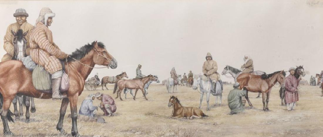 Peter Barrett (1935    ) British. Mongolian Figures and
