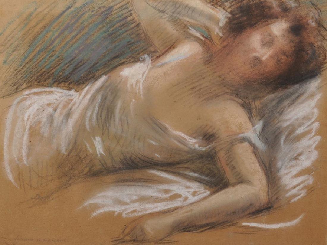 "19th Century French School. ""Femme se reposant"", A Lady"