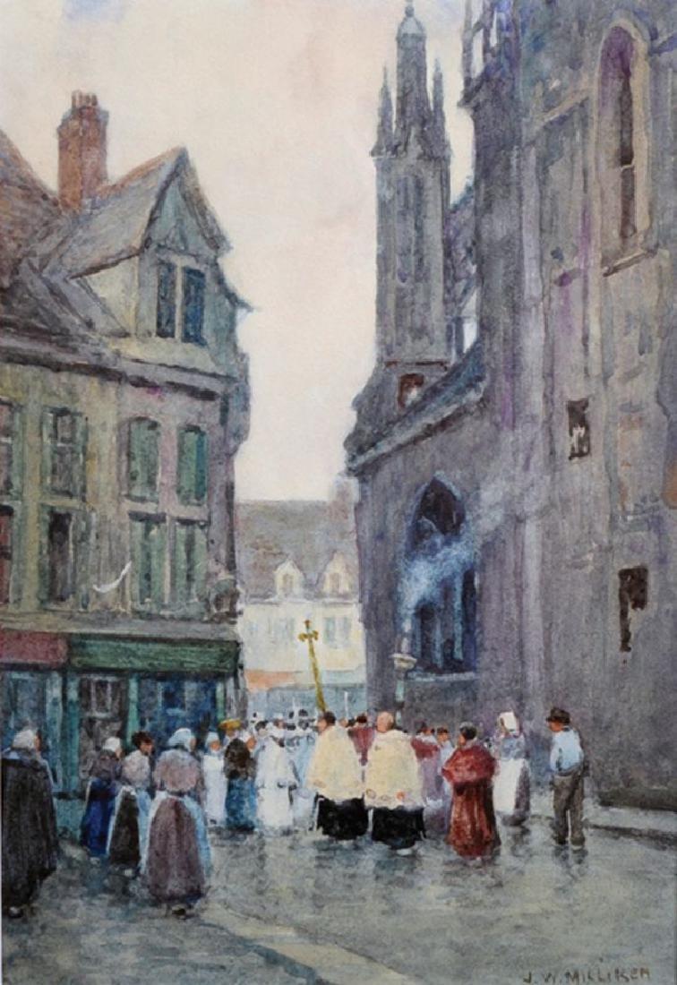 James William Milliken (act.1887-1930) British. 'Church