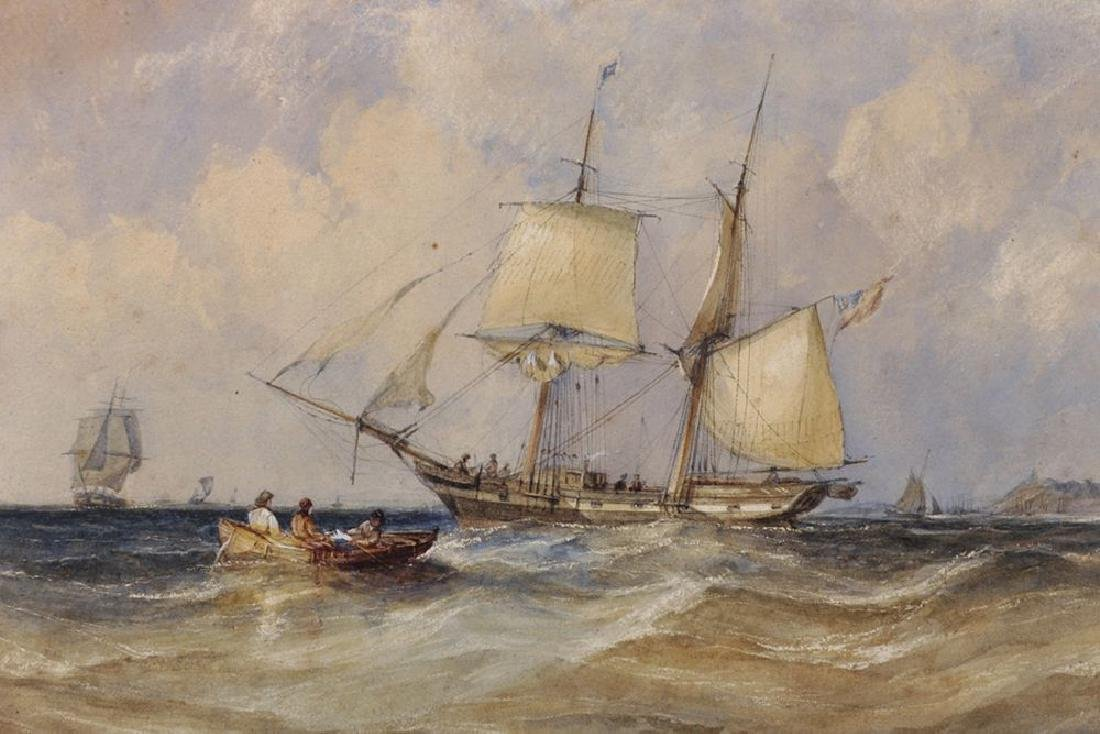 19th Century English School. A Two Mast Ship at Sea off