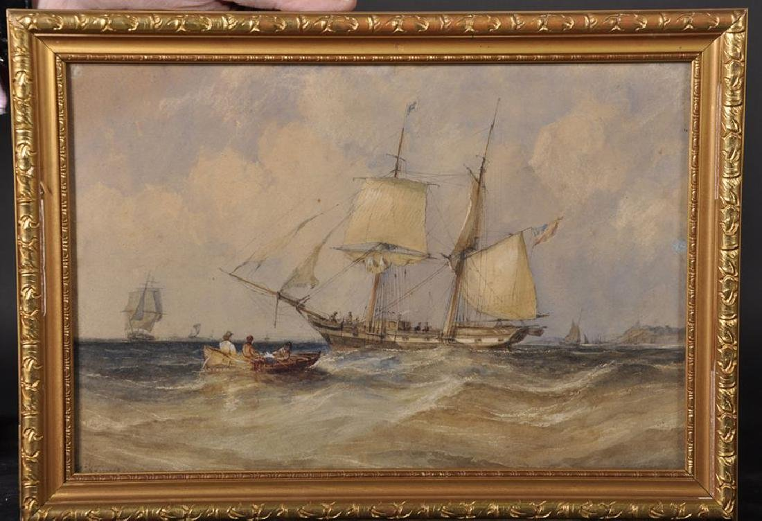 19th Century English School. A Two Mast Ship at Sea off - 2