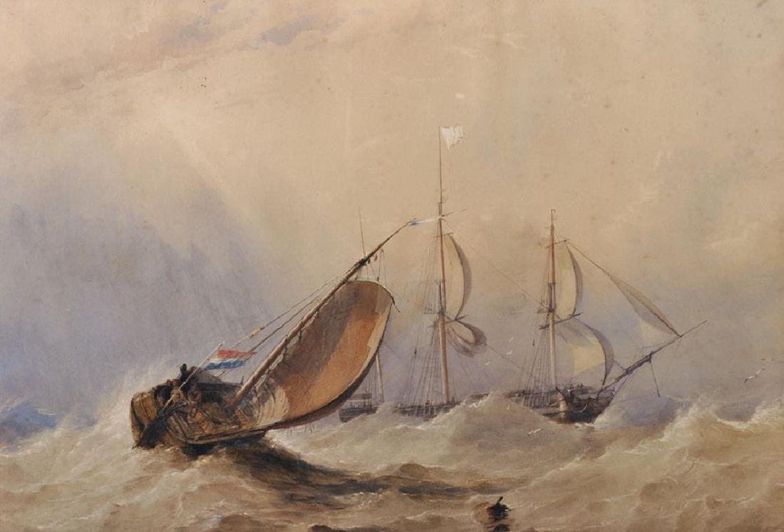 19th Century English School. Dutch Shipping in Stormy