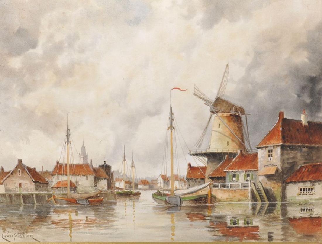 Louis Van Staatan (1836-1909) Dutch. A Harbour Scene