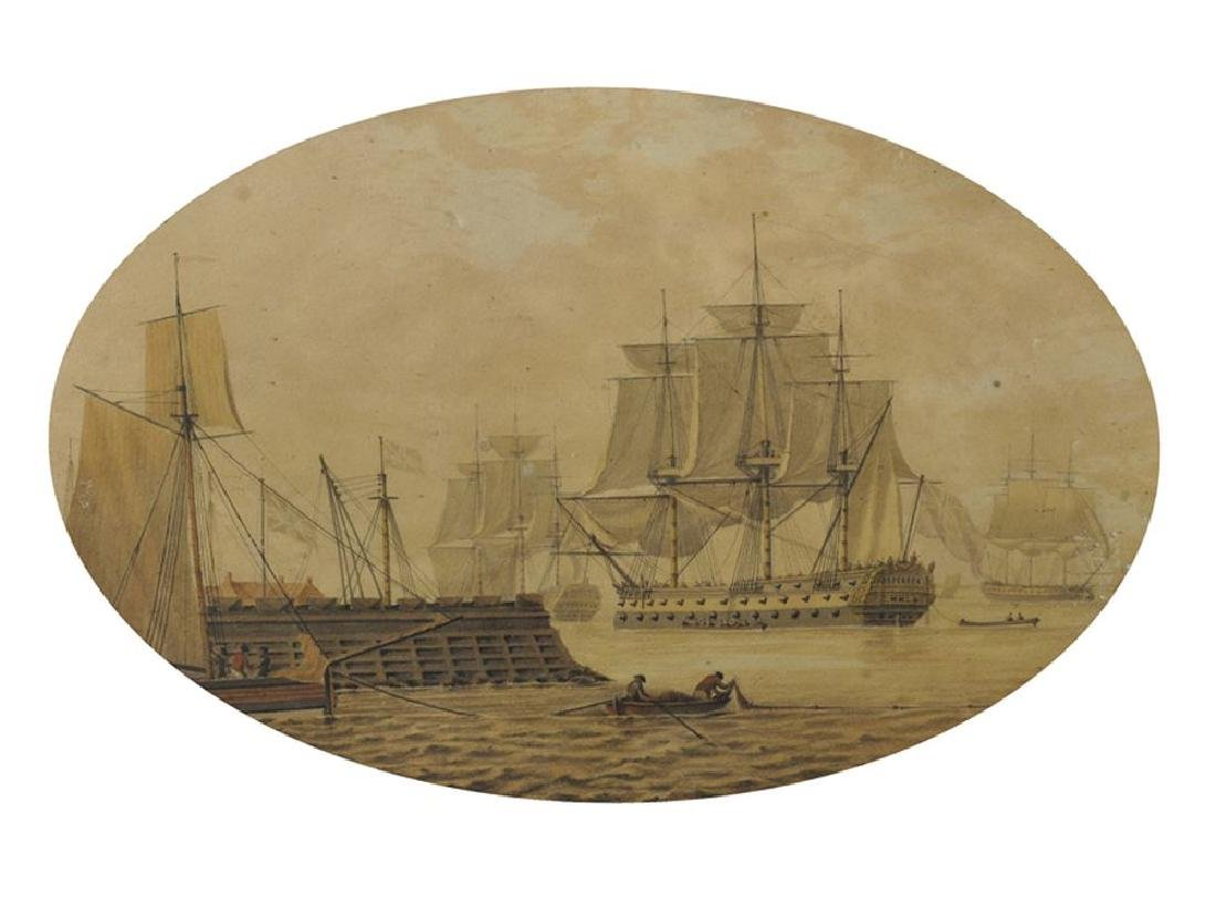 18th Century English School. A Man O' War in a Harbour,