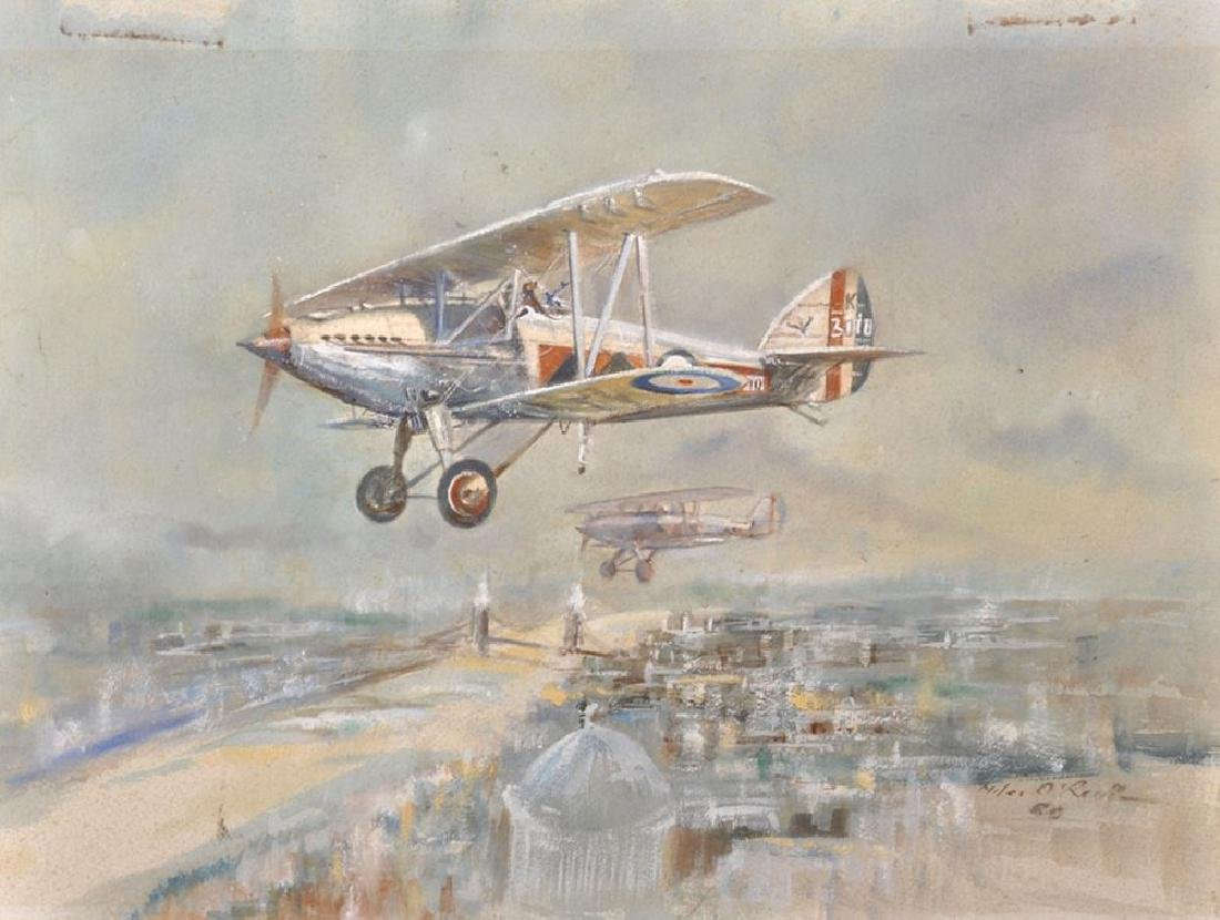 Miles O'Reilly (20th Century) Irish. A Biplane over The