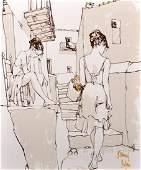 Bernard Dufour 19222016 French Study of Two Girls
