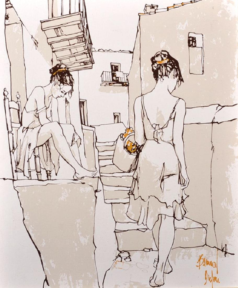 Bernard Dufour (1922-2016) French. Study of Two Girls
