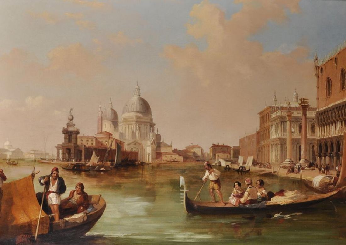 Edward Pritchett (1808-1894) British. Gondolas off St