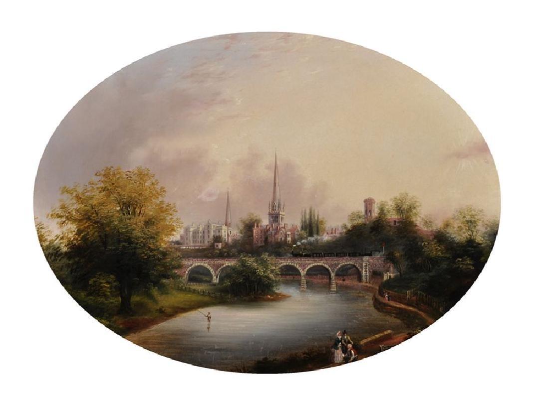 R...M...Coney (19th Century) British. A River Landscape