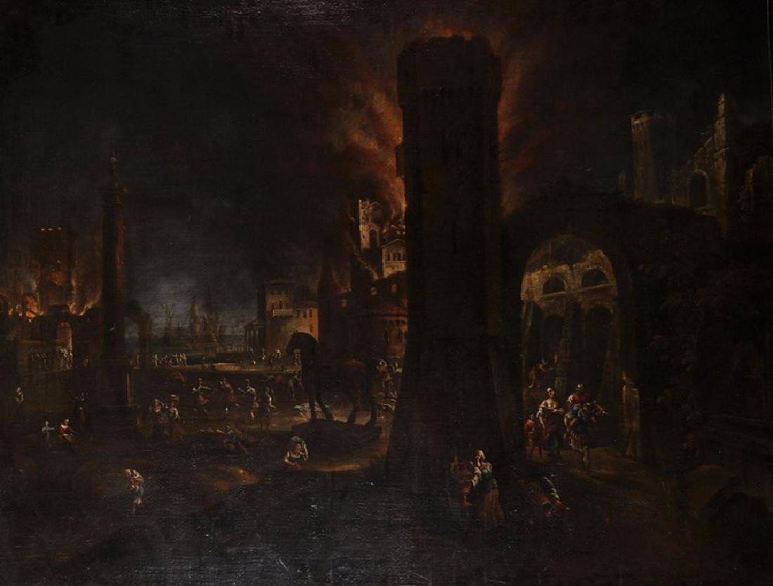 18th Century Dutch School. A Conflagration Scene, with