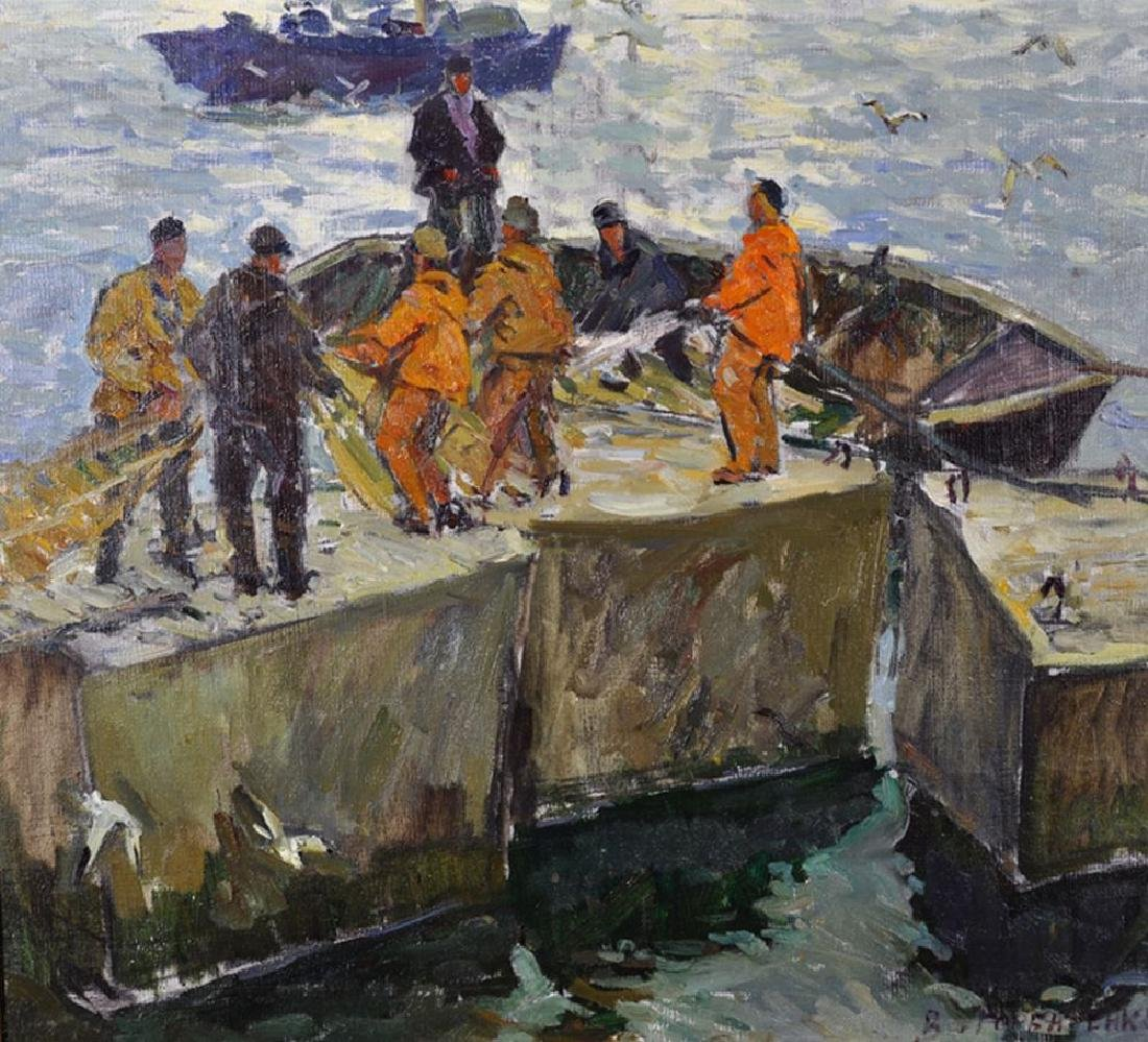 20th Century European School. Bringing in the Boats,