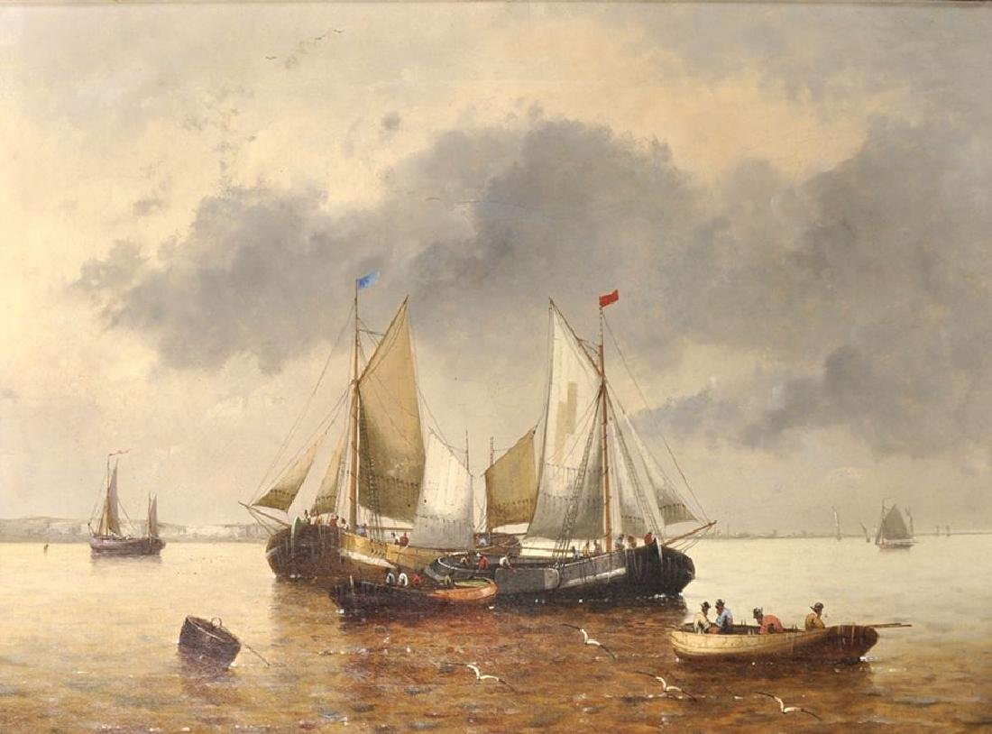 P...Lambert (19th Century) European. A Shipping Scene