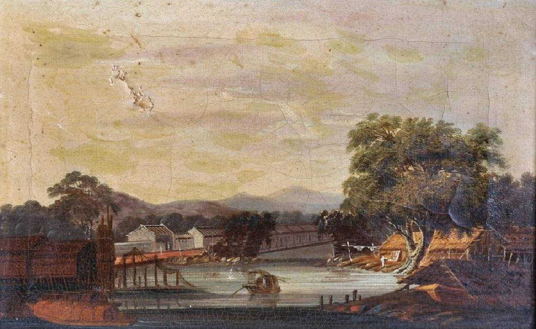 19th Century Chinese School. A River Landscape, with a
