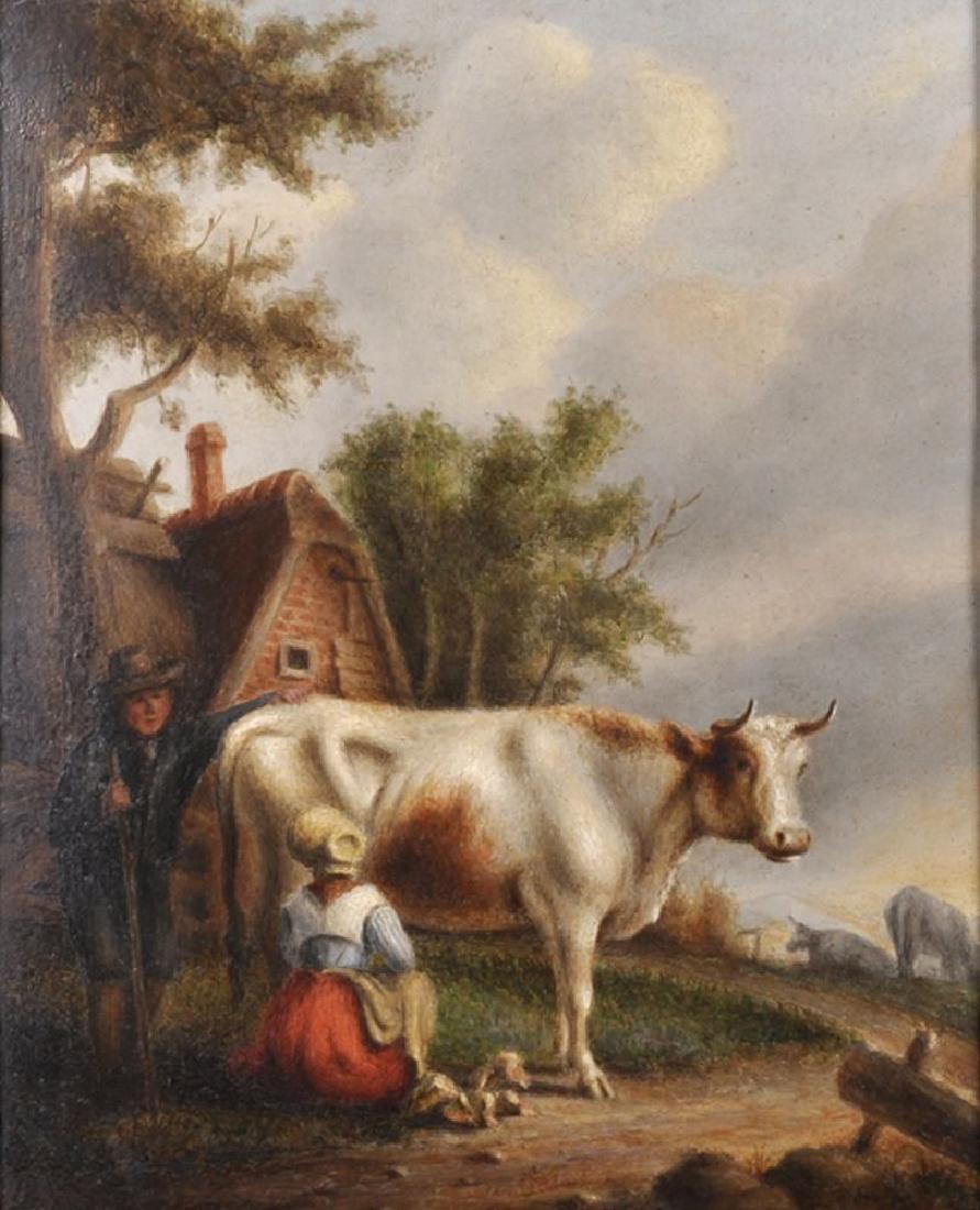 19th Century Dutch School. A Farmer Talking to a