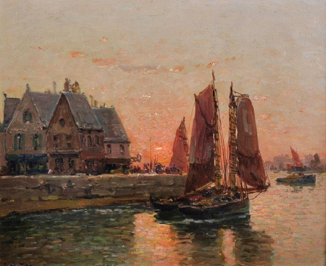 John Thery (19th - 20th Century) Dutch. A Harbour Scene