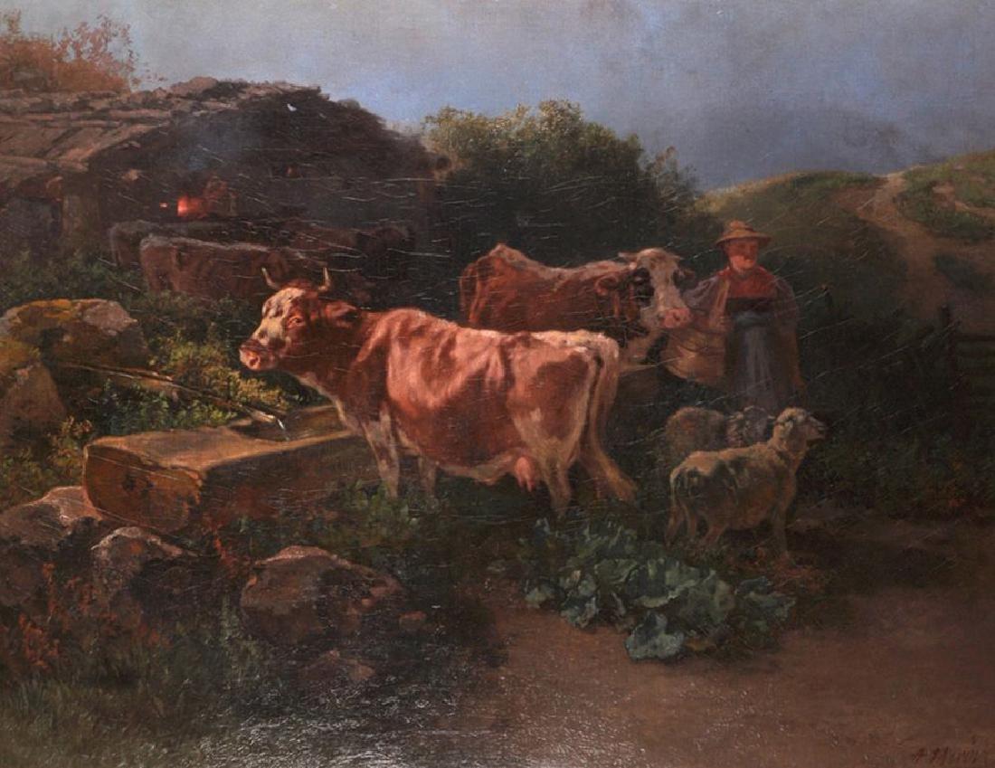 Anton Mauve (1838-1888) Dutch. An Evening Landscape,