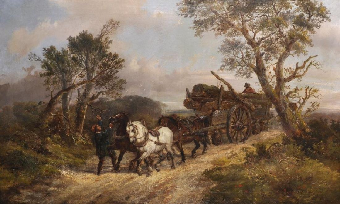 Alexis de Leeuw (act.1848-1896) Dutch. The Logging Team