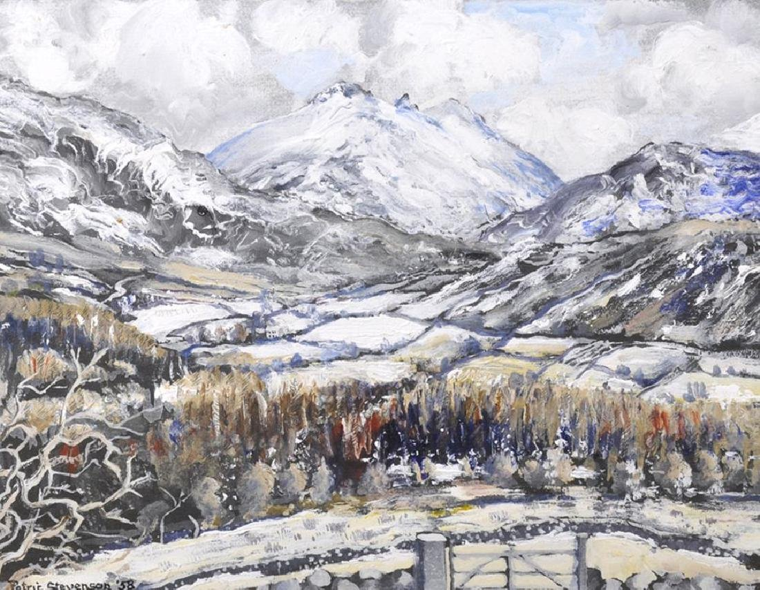 "Patric Stevenson (1909-1983) Irish. ""Snow on Slieve"