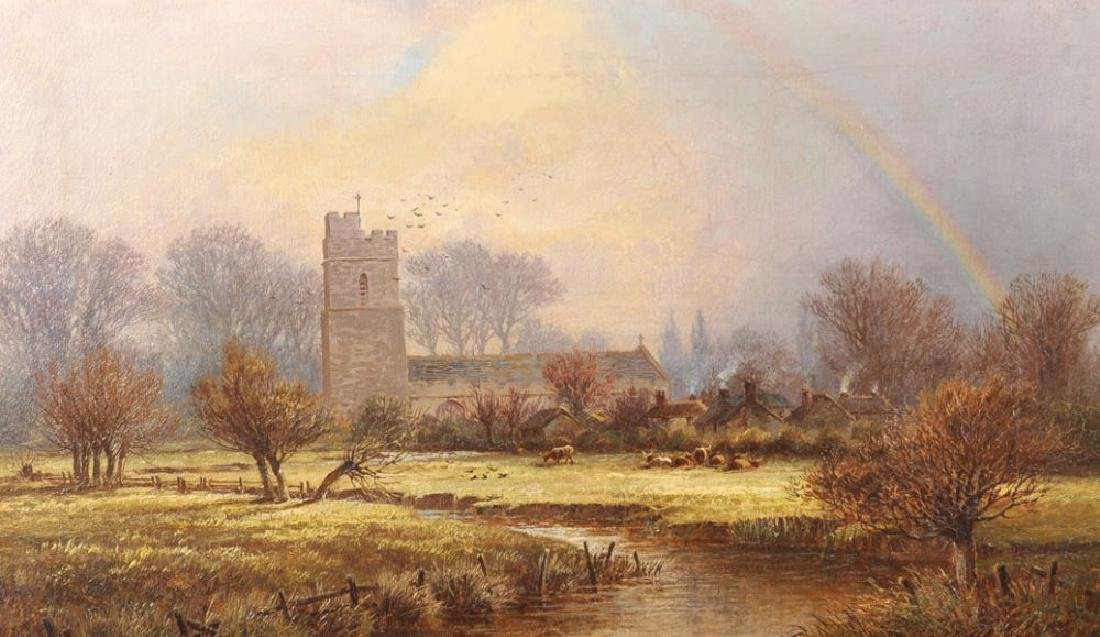 John Barrett (1822-1893) British. A Church by a River