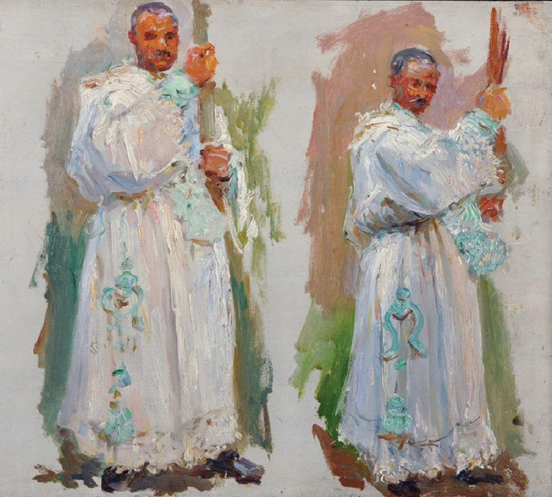 20th Century English School. Priests Holding the Cross,