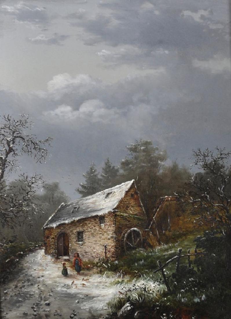 J... Morison (19th Century) British. A Winter Lane with