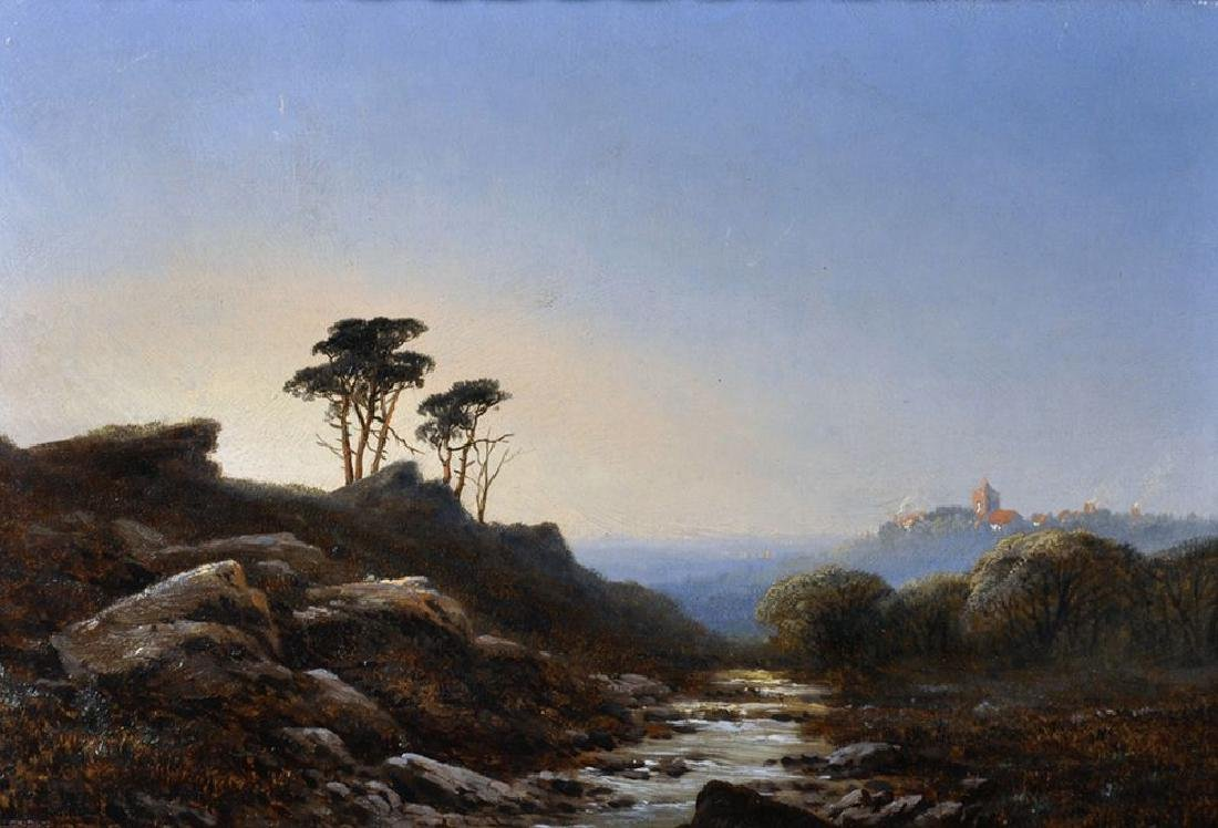 """Edmund John Niemann (1813-1876) British. """"Landscape in"""