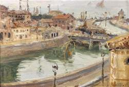 Manner of Maurice Utrillo (1883-1955) French. A Harbour