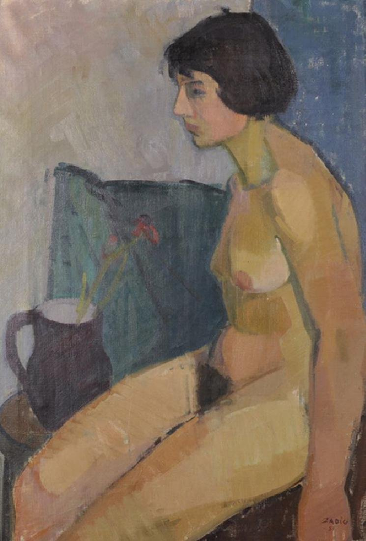 Jacques Zadig (1930    ) Swedish. Nude Woman Sitting by